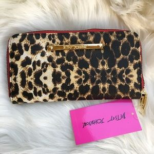 Betsey Johnson wallet zip around leopard leather